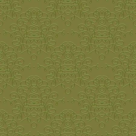 curls: Ornamental curly pattern with damask motif in olive green color, seamless background  Texture for web, print, textile, wallpaper, vintage decor, elegant invitation  Concept of history, heritage