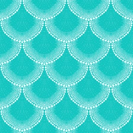 열대 아쿠아 블루의 아트 데코 스타일의 패턴
