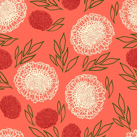 aster: Vector pattern with flowers drawn in thin lines