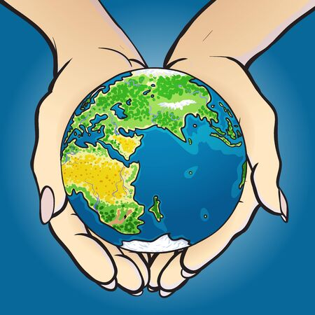 Hands giving and holding globe