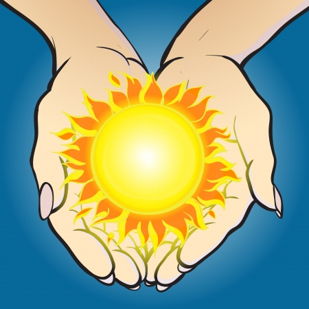 Vector illustration of hands holding shining sun and giving it  Vector