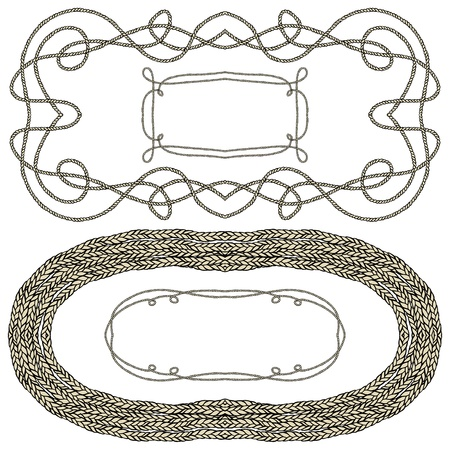 Set of rope frames for marine decor Vector