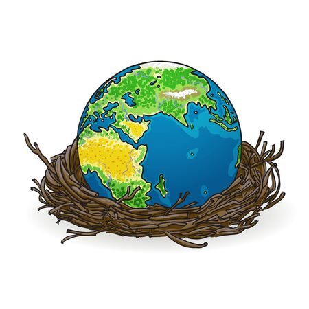 Illustration of the earth in a bird s nest  illustration