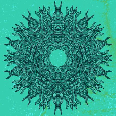 mandala: Mandala design in black on aqua green