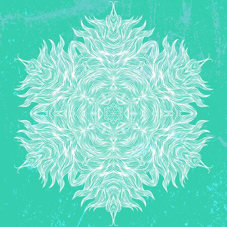 mandala: Mandala design in white on aqua green