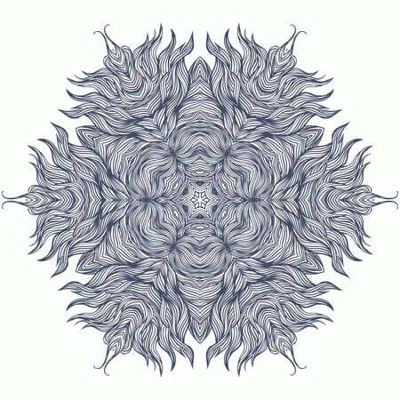 Mandala design or snowflake in dark blue photo
