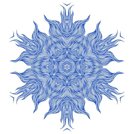 mandala: Mandala design or snowflake in dark blue