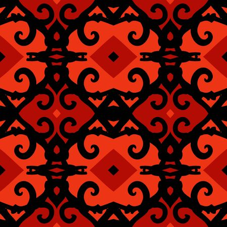 Vector ethnic pattern with stylized Kazakh motifs photo