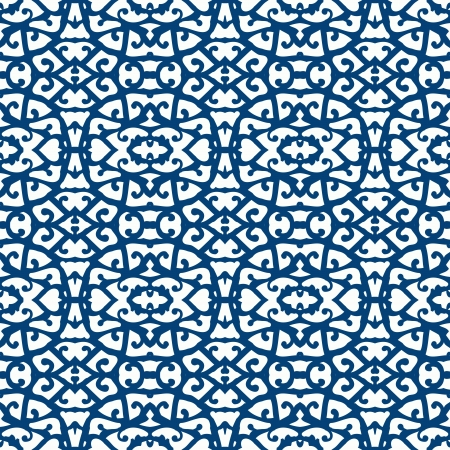 Elegant lace pattern with blue lines on white photo