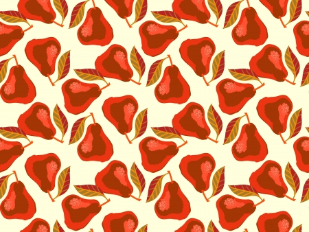 illustration: Grunge pattern with painted red pears and leafs