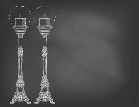 Hand drawn illustration of two highly ornamental candlestick on chalkboard. Template for restaurant opening, Christmas holiday or valentine card, wedding invitation, postcard, cafe advertising.