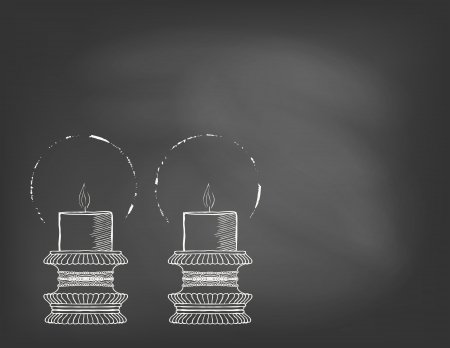 shabat: Dibujado a mano ilustraci�n de dos velas muy ornamental en la pizarra. Plantilla para la apertura del restaurante, tarjeta del d�a de San Valent�n o Navidad, invitaci�n de boda, tarjeta postal, publicidad cafeter�a.