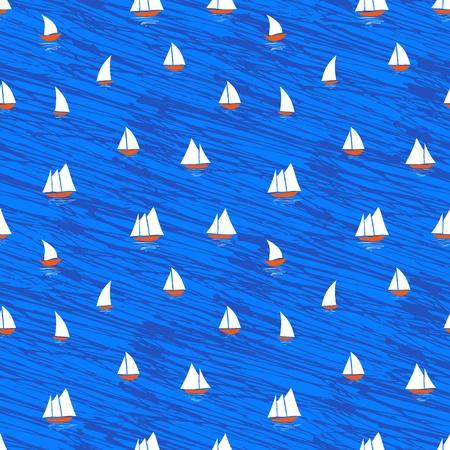 bateau de course: Motif nautique avec de petits bateaux sur les vagues bleues