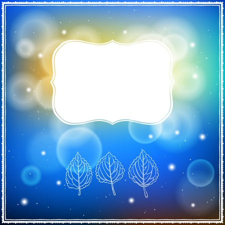 Card with three leaves and frame on bokeh lights