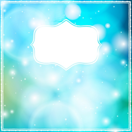 Card with frame on blue bokeh background
