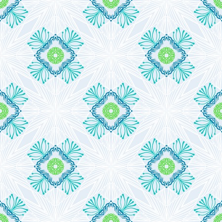 Vector pattern with stylized flowers drawn in thin lines