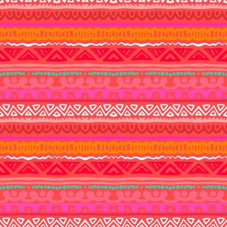 縞模様に触発アステカ族の芸術熱帯珊瑚の赤い色で民族のテクスチャを web、印刷、壁紙、家の装飾、春夏ファッション織物、繊維、招待状、または