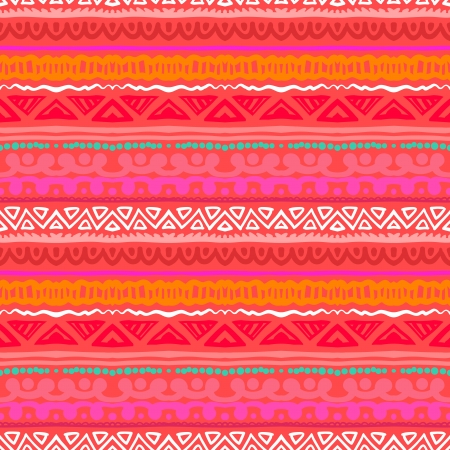 Striped pattern inspired by Aztec art in tropical coral red colors  Ethnic texture for web, print, wallpaper, home decor, spring summer fashion fabric, textile, invitation or website background