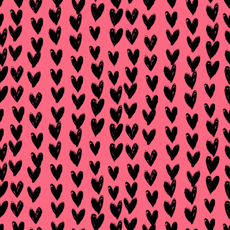 romantic: Grunge vector seamless pattern with hand painted hearts. Texture for web, print, valentines day wrapping paper, wedding invitation card background, textile, fabric, home decor, romantic gift paper Illustration