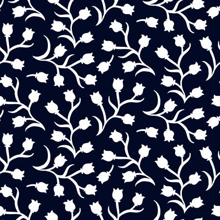 어두운 검은 색에 작은 흰색 튤립 Ditsy 꽃 패턴입니다. 인쇄, 봄 여름 패션, 섬유 디자인, 직물, 홈 인테리어, 꽃 가게 웹 사이트, 벽지 원활한 벡터 텍스 일러스트