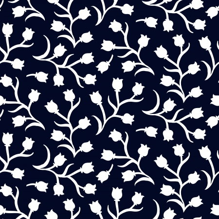 simple: Ditsy floral pattern with small white tulips on dark black . Seamless vector texture for print, spring summer fashion, textile design, fabric, home decor, flower shop website, wallpaper