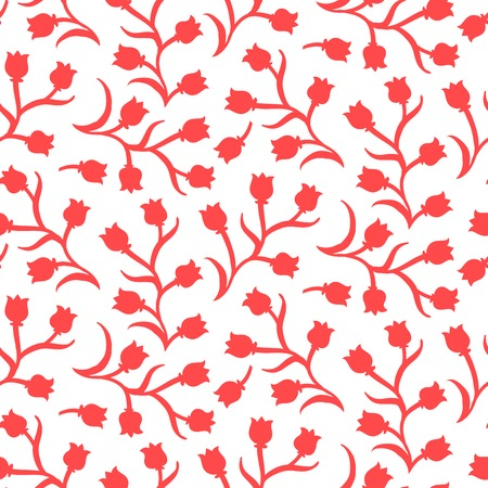 Ditsy floral pattern with small red tulips on white . Seamless vector texture for print, spring summer fashion, textile design, fabric, home decor, flower shop website, wallpaper Vector
