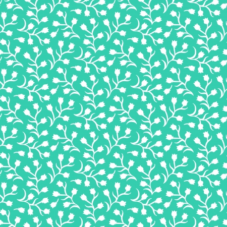 Ditsy floral pattern with small white tulips on aqua green . Seamless vector texture for print, spring summer fashion, textile design, fabric, home decor, flower shop website, wallpaper Ilustracja