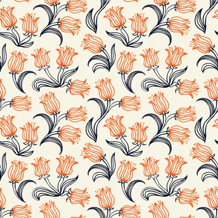 Ditsy floral pattern with small red tulips on soft beige . Seamless vector texture for print, spring summer fashion, textile design, fabric, home decor, flower shop website, wallpaper Vector