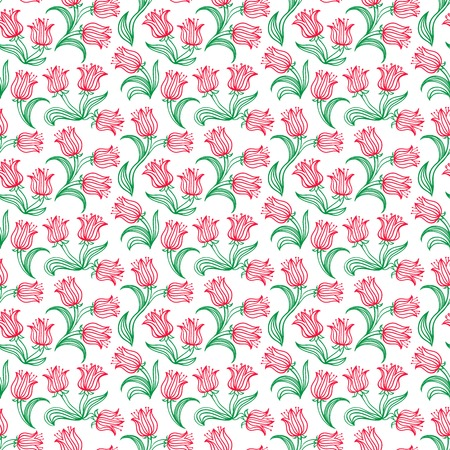 Ditsy floral pattern with small red tulips on white . Seamless vector texture for web, print, spring summer fashion, textile design, fabric, home decor, flower shop website, wallpaper Vector