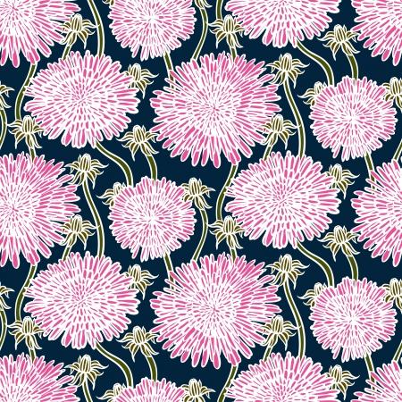 De hand getekend vintage bloemmotief met paardebloemen of asters. Naadloze textuur voor web, print, behang, lente zomer mode, bruiloft uitnodiging kaart, stof, cadeaupapier