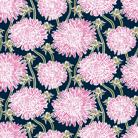 Hand drawn vintage floral pattern with dandelions or asters. Seamless vector texture for web, print, wallpaper, spring summer fashion, wedding invitation card , fabric, textile, gift paper Stock Vector - 24379804
