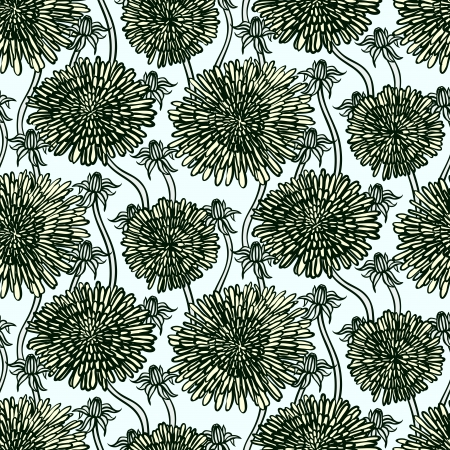 Hand drawn vintage floral pattern with dandelions or asters. Seamless vector texture for web, print, wallpaper, spring summer fashion, wedding invitation card , fabric, textile, gift  Vector