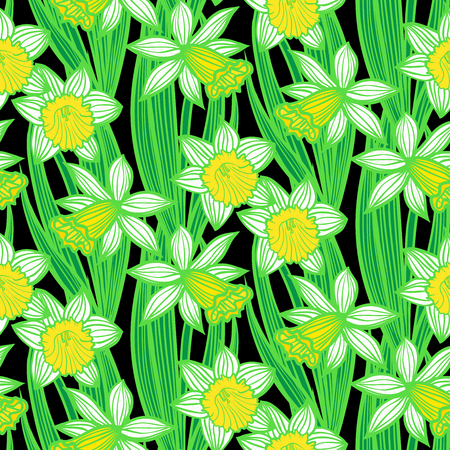 Hand drawn vintage floral pattern with daffodils or narcissus. Seamless vector texture for print, wallpaper, spring summer fashion, wedding invitation card , fabric, textile, gift paper Vector