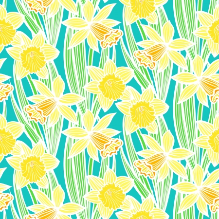 Hand drawn vintage floral pattern with daffodils or narcissus. Seamless vector texture for print, wallpaper, spring summer fashion, wedding invitation card background, fabric, textile, gift paper