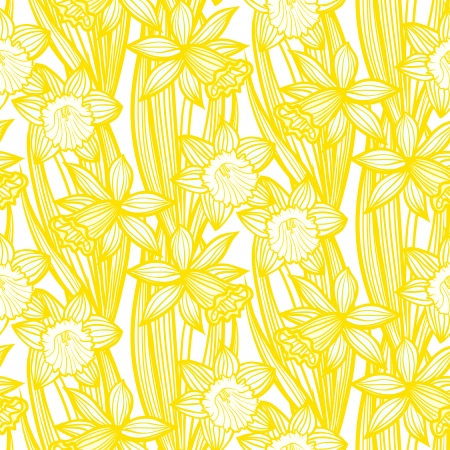 Hand drawn vintage floral pattern with daffodils or narcissus. Seamless vector texture for print, wallpaper, spring summer fashion, wedding invitation card , fabric, textile, gift paper Ilustracja