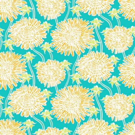 Hand drawn vintage floral pattern with dandelions or asters. Seamless vector texture for web, print, wallpaper, spring summer fashion, wedding invitation card , fabric, textile, gift paper Stock Vector - 24379836