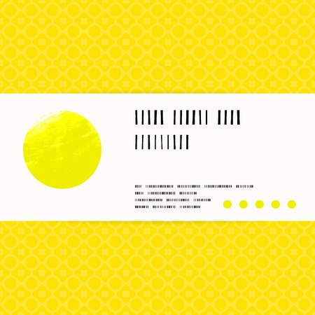 Vector card with watercolour circle on bright yellow gold pattern background. Template for spa promotion, gift card, soap package, spring sale coupon, perfume box design, wedding invitation Illustration