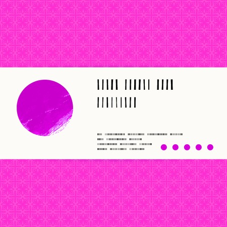 watercolour: Vector card with watercolour circle on bright pink pattern background. Template for spa promotion, gift card, soap package, spring sale coupon, perfume box design, wedding invitation