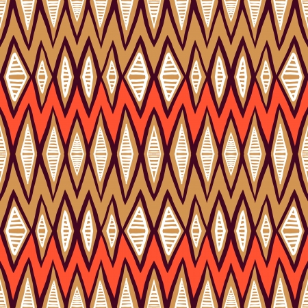 Vector ethnic pattern with zigzag lines in organic colors. Seamless texture for web, print, invitation card background, textile, summer fall fashion, native fabric design, wallpaper, home decor Vector