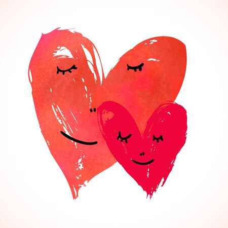 Two watercolor painted hearts with faces on white Vector