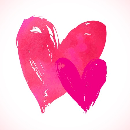two stroke: grunge tarjeta con corazones pintados a mano en blanco