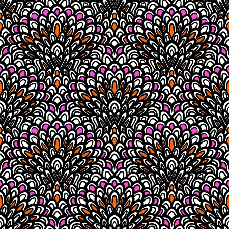 Art deco floral pattern hand drawn with black line Seamless texture Vector