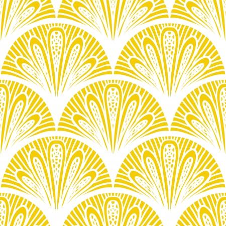 Art deco geometric pattern in bright yellow