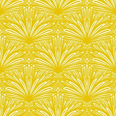 linear art: Art deco floral pattern in golden yellow color