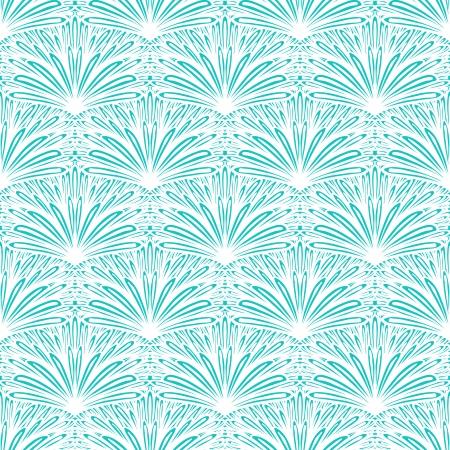 Art deco geometric pattern in tropical aqua blue Vector