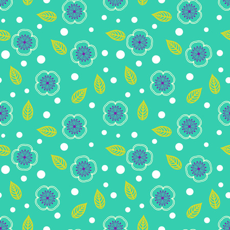 Ditsy pattern with small white sakura flowers on green Vector