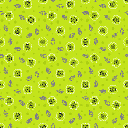 Ditsy pattern with small white sakura flowers on green background  Seamless vector texture for web, print, spring summer fashion, textile design, fabric, home decor, flower shop website, wallpaper  Vector