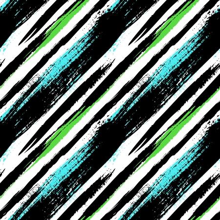 Multicolor rayas patrón con líneas diagonales cepillado. Vectores