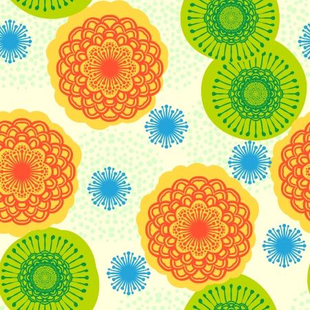 bright: Multicolor seamless floral pattern in bright colors.   Illustration