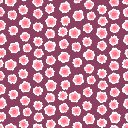 Ditsy floral pattern with small pink flowers on black background.  Illustration